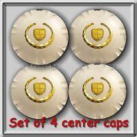 Set 4 Chrome Gold Cadillac Srx 18 Wheel Center Caps 2010-2014 Replica Hubcaps