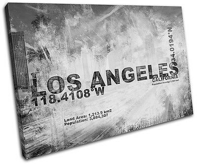 Los Angeles LA City Typography SINGLE CANVAS WALL ART Picture Print VA
