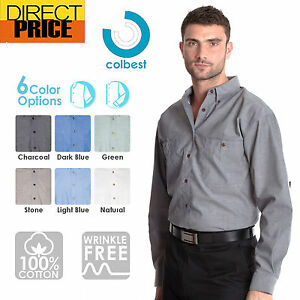 Mens-Chambray-Shirts-Cotton-Casual-Business-Down-Blue-Charcoal-Work-Uniform