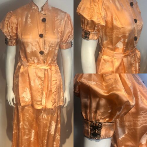 Vtg 30s PAJAMAS 2 Pc. Silk Satin Brocade