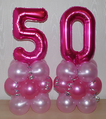 50th BIRTHDAY -AGE 50-FEMALE-GIRL-FOIL BALLOON DISPLAY-TABLE CENTREPIECE-BANNER