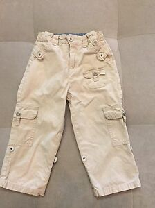 Baby-Boy-Guess-Cotton-Pants-Roll-Up-Size-24-Month-Beige-Super-Cutie