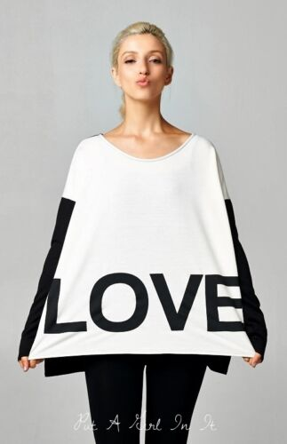 FLIRTY OVERSiZED BLACK /& WHITE BLOCK LOVE SWEATER TUNIC SHIRT SWEATSHIRT S M L