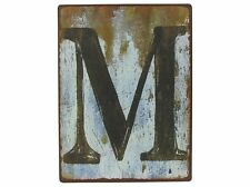 "VINTAGE DISTRESSED METAL SIGN LETTER ""M"" WALL DECOR (A-Z Available) OUTDOOR SIGN"