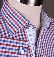 Mens Formal Business Dress Shirt Plaids & Checks Micro Fiber Italy Cotton Blend