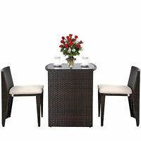 Rattan Furniture Set Glass Top Patio Table 2 Chairs Free Cushions Garden Seating