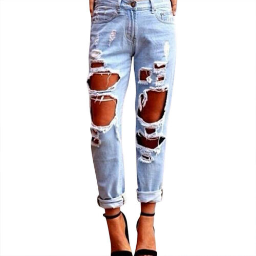 Damen Jeanshose Zerrissen Ripped Röhrenjeans Jeans Löcher Distressed Denim Hosen