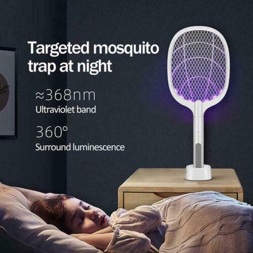 Mosquito Swatter USB Rechargeable Electric Flies Insect Racket Bug Killer S3A5