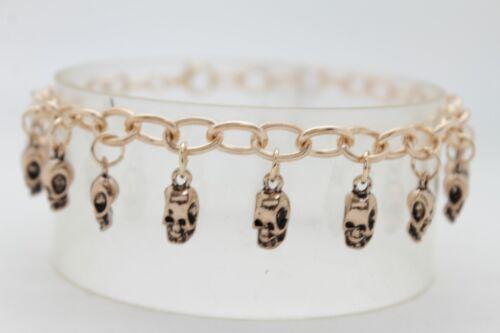 Women Gold Metal Chain Boot Bracelet Shoe Charm Bling Halloween Skeleton Skulls