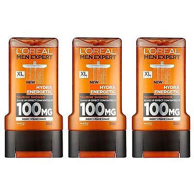 3 x L'Oreal Men Expert Hydra Energetic Shower Gel 300ml For Face Body & Hair