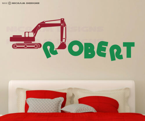 Custom Boys Any Name Bedroom Wall Art Excavator JCB Sticker Digger Building Site