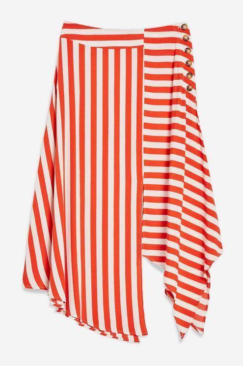 68 NWT TopShop Womens Sz 4P Red Ivory Striped Hanky Hem Skirt Asymmetrical