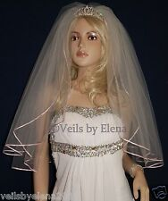 """Soft Wedding Veil Shoulder Red 2Tiers 20/"""" Length  Ribbon Edge Made in USA"""