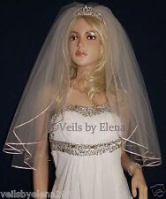 "Wedding Veil Elbow Black White Red Ivory 2Tiers 72"" Width 28"" length Ribbon Edge"
