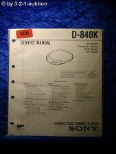 Sony Service Manual D 840K CD Player (#0160)