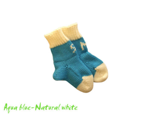 Personalized Socks 100/% MERINO WOOL baby infant toddler newborn knitted initials