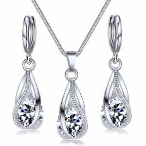 925 Silber Hochzeit Halskette Anhänger Herz Aaa+ Zirkonia Kristallen Schmuck Set Gut Verkaufen Auf Der Ganzen Welt