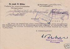 Anschreiben, Dr. med R. Bihler, Meiningen, bzgl. Lohnsteuerkarte, 27.8.50