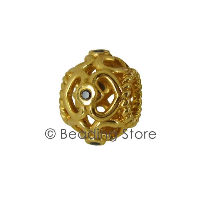 NEW Pandora Open Sparkling Heart Black Diamond 14k 14ct Gold Charm Bead 750466DB