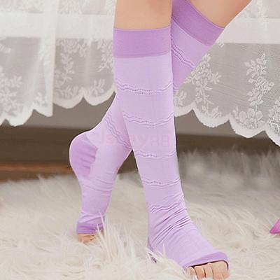 Purple Open Toe Varicose Veins Compression Socks Calf Leg Slimming Stockings