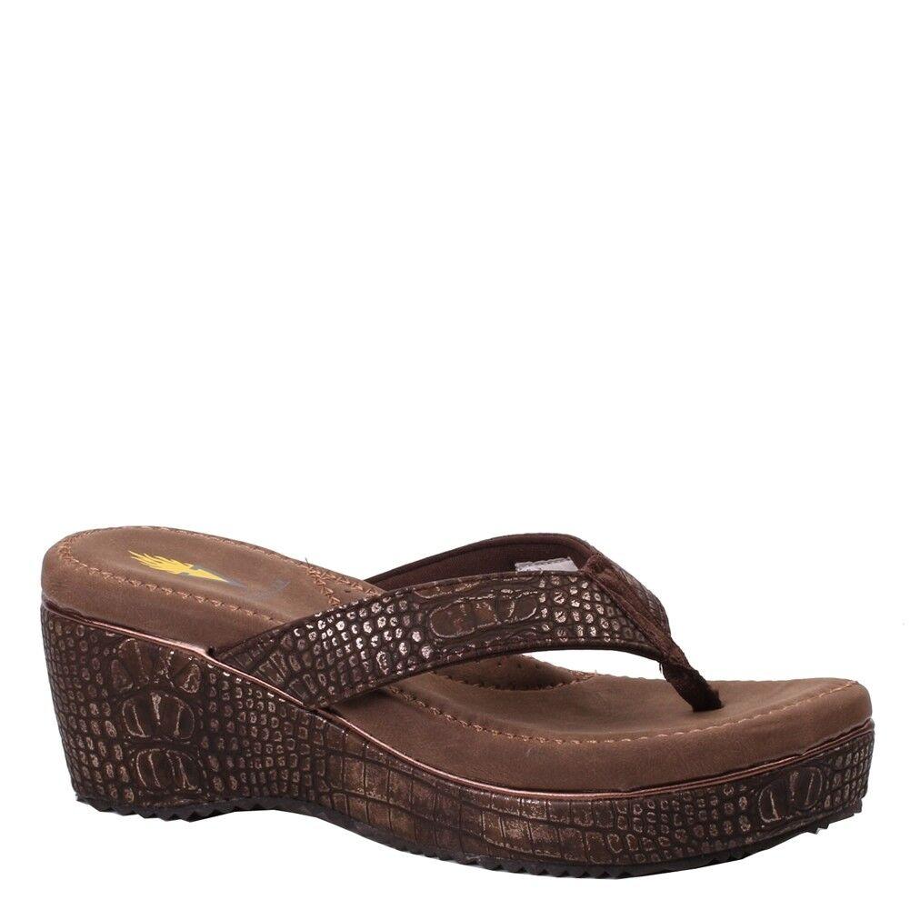 Women's Volatile Volatile Volatile ABIGAIL Bronze Slip On Flip Flop Wedge Thong Sandal shoes 025091