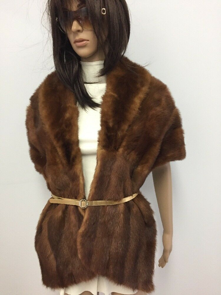 GENUINE WHISKEY RED MINK FUR STOLE CAPE WRAP COLLAR n18-35
