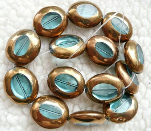 clearance-gold silver electroplate glass oval 24x20mm beads green blue was3.99