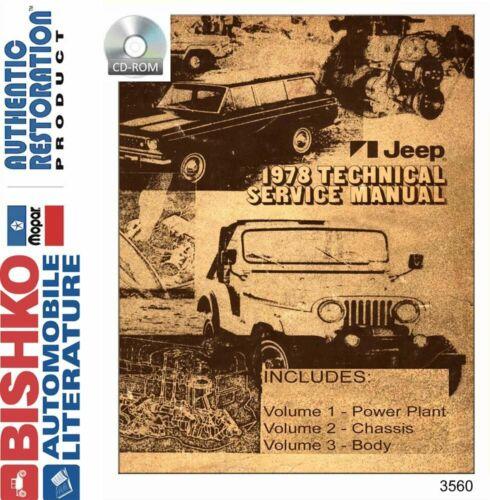 Bishko OEM Digital Repair Maintenance Shop Manual CD for Jeep All Models 1978