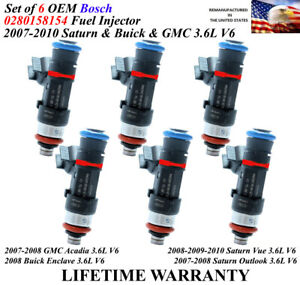 OEM 6X FUEL INJECTORS FOR SATURN BUICK GMC 3.6L 0280158154 832-11221 12608632