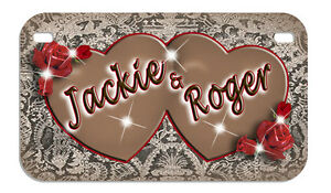 Heart Antique Lace Red Roses Motorcycle License Plate Personalize Gifts Ladies