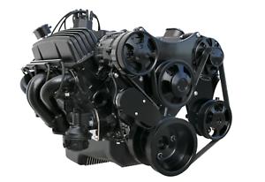 Black-SBC-Complete-Serpentine-Front-Pulley-Drive-System-Billet-Bracket-Kit