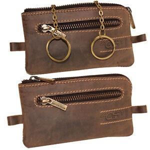 Vintage-Leder-Schluesseltasche-Schluesselanhaenger-Tasche-Etui-Damen-Herren-braun