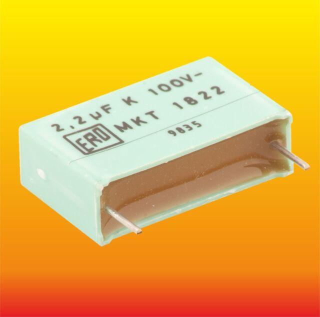 2.2 uF 100V LOT OF 2 MKT 1822 ERO POLY TEREPHTHALATE METALLIZED AUDIO CAPACITORS