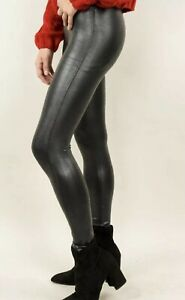 e726f929ce6d2 NWT $110 SPANX Faux Leather Pebbled Leggings Pebble Grey Size L | eBay