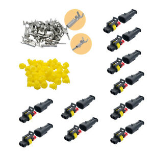 10x-2Pin-Kit-de-enchufe-de-forma-Coche-Conector-Impermeable-Electrico-Cable-Cable-Automotriz