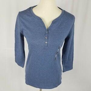 Karen-Scott-womens-top-size-PP-blue-3-4-sleeves-split-neck-buttons