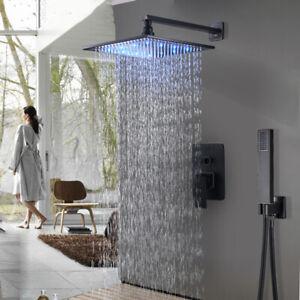 "12/"" Rainfall Bathroom Shower Faucet Combo System Set Oil Rubbed Bronze Mixer Tap"