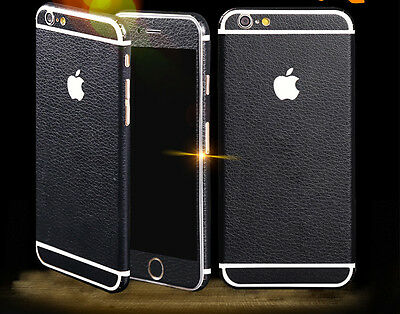 Black Leather wrap Skin Decal Sticker body cover Case for Apple iPhone 6 Plus