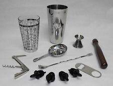 12 pc. BOSTON SHAKER BAR KIT 16oz. Tin Glass Spoon Jigger Muddler Strainer Pours