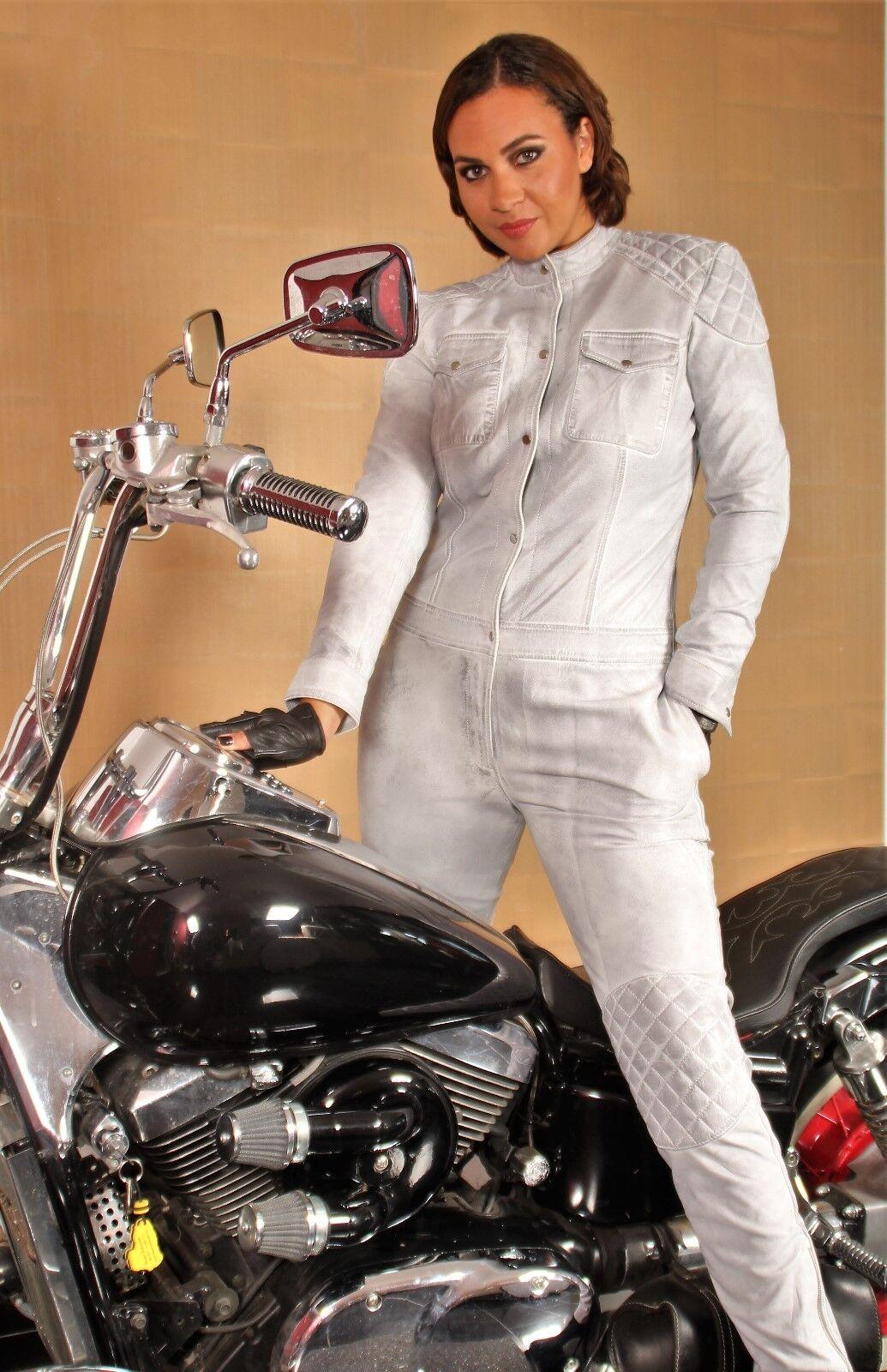 Jumpsuit Catsuit ECHTLEDER - USED LOOK - in weiß grau-