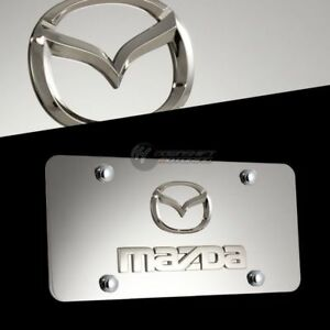 Ford Mustang Logo Front 3D Mirror Stainless Steel License Plate Frame with Caps