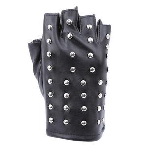 Black Leather Studded Fingerless Gloves Unisex Size Small Adult
