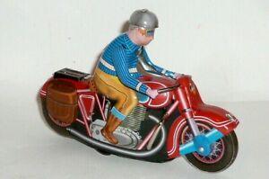 Vecchia LAMIERA MOTO MOTO GIOCATTOLI di latta Motocycle movimento dell'orologio chiave ascensore