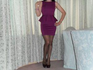Womens-Sexy-Purple-Topshop-Mini-Peplum-Bodycon-Dress-With-Low-V-Back-Size-8