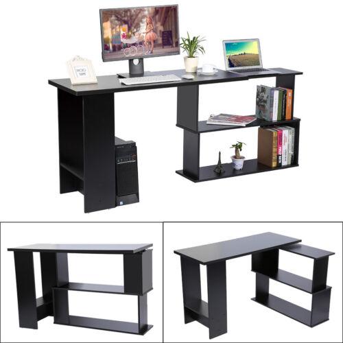 Computertisch Eckschreibtisch Winkel Schreibtisch drehbar Bürotisch Schwarz LI 1