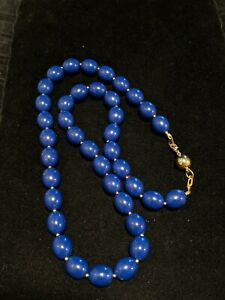 Vintage-Gold-Tone-Navy-Blue-Acrylic-Bead-Necklace