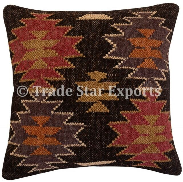 Indian Hand Woven Kilim Pillow Case 18x18 Vintage Jute Rug Square Cushion Cover