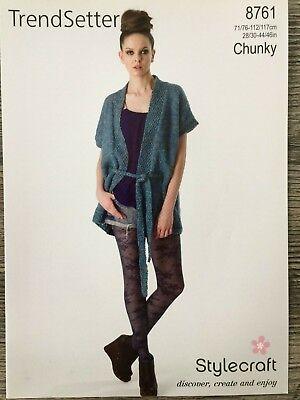 "Stylecraft Knitting Pattern 8378 Brushstrokes Chunky Belt Cardigan Ladies 28-46/"""