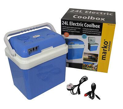 24L Coolbox Cold Or Hot Cool Box Portable Electric Car Van Home 12V DC & 240V AC