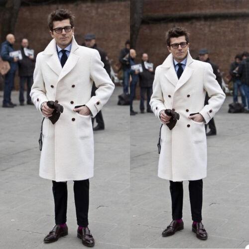 Weiß Wollmischung Herren Lange Jacken Tweed Zweireihig Mantel Blazer Windjacke